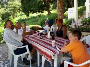 American Expats Enjoying a Great Corvina (Sea Bass) Lunch on their Taboga Escape under Ranchito del Cerrito.