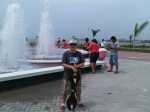 Cooling off by the Cinta Costera Fountains in Panama City